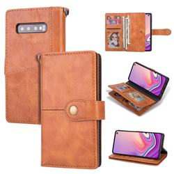 Retro Luxury Multipurpose Purse Phone Case for Samsung Galaxy S10 Plus(6.4 inch) - Brown