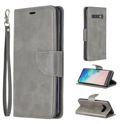 Classic Sheepskin PU Leather Phone Wallet Case for Samsung Galaxy S10 Plus(6.4 inch) - Gray