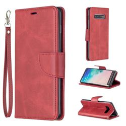 Classic Sheepskin PU Leather Phone Wallet Case for Samsung Galaxy S10 Plus(6.4 inch) - Red