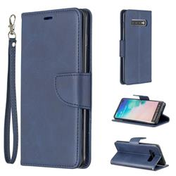 Classic Sheepskin PU Leather Phone Wallet Case for Samsung Galaxy S10 Plus(6.4 inch) - Blue