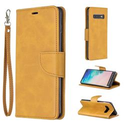 Classic Sheepskin PU Leather Phone Wallet Case for Samsung Galaxy S10 Plus(6.4 inch) - Yellow