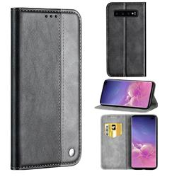 Classic Business Ultra Slim Magnetic Sucking Stitching Flip Cover for Samsung Galaxy S10 Plus(6.4 inch) - Silver Gray