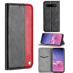 Classic Business Ultra Slim Magnetic Sucking Stitching Flip Cover for Samsung Galaxy S10 Plus(6.4 inch) - Red
