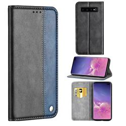 Classic Business Ultra Slim Magnetic Sucking Stitching Flip Cover for Samsung Galaxy S10 Plus(6.4 inch) - Blue