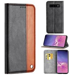 Classic Business Ultra Slim Magnetic Sucking Stitching Flip Cover for Samsung Galaxy S10 Plus(6.4 inch) - Brown