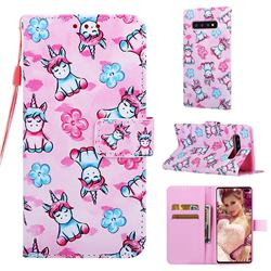 Unicorn and Flowers Matte Leather Wallet Phone Case for Samsung Galaxy S10 Plus(6.4 inch)