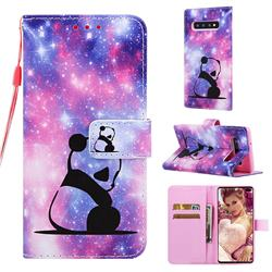 Panda Baby Matte Leather Wallet Phone Case for Samsung Galaxy S10 Plus(6.4 inch)