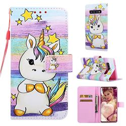 Spiral Pony Matte Leather Wallet Phone Case for Samsung Galaxy S10 Plus(6.4 inch)