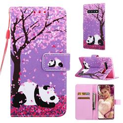 Cherry Blossom Panda Matte Leather Wallet Phone Case for Samsung Galaxy S10 Plus(6.4 inch)