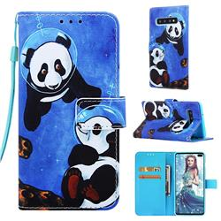 Undersea Panda Matte Leather Wallet Phone Case for Samsung Galaxy S10 Plus(6.4 inch)
