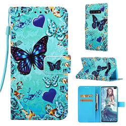 Love Butterfly Matte Leather Wallet Phone Case for Samsung Galaxy S10 Plus(6.4 inch)