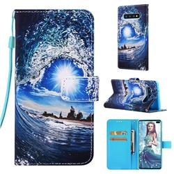 Waves and Sun Matte Leather Wallet Phone Case for Samsung Galaxy S10 Plus(6.4 inch)