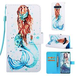 Mermaid Matte Leather Wallet Phone Case for Samsung Galaxy S10 Plus(6.4 inch)