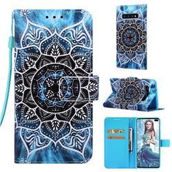 Underwater Mandala Matte Leather Wallet Phone Case for Samsung Galaxy S10 Plus(6.4 inch)