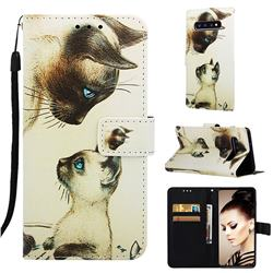 Cat Confrontation Matte Leather Wallet Phone Case for Samsung Galaxy S10 Plus(6.4 inch)