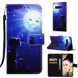 Cat and Moon Matte Leather Wallet Phone Case for Samsung Galaxy S10 Plus(6.4 inch)