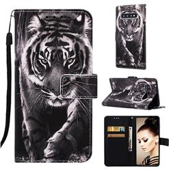 Black and White Tiger Matte Leather Wallet Phone Case for Samsung Galaxy S10 Plus(6.4 inch)