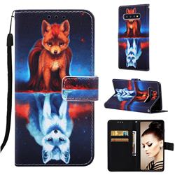 Water Fox Matte Leather Wallet Phone Case for Samsung Galaxy S10 Plus(6.4 inch)