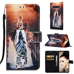 Cat and Tiger Matte Leather Wallet Phone Case for Samsung Galaxy S10 Plus(6.4 inch)