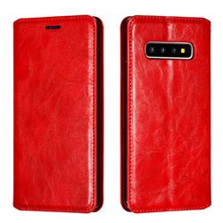 Retro Slim Magnetic Crazy Horse PU Leather Wallet Case for Samsung Galaxy S10 Plus(6.4 inch) - Red