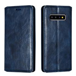 Retro Slim Magnetic Crazy Horse PU Leather Wallet Case for Samsung Galaxy S10 Plus(6.4 inch) - Blue