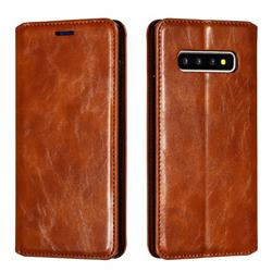 Retro Slim Magnetic Crazy Horse PU Leather Wallet Case for Samsung Galaxy S10 Plus(6.4 inch) - Brown