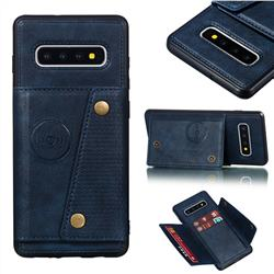 Retro Multifunction Card Slots Stand Leather Coated Phone Back Cover for Samsung Galaxy S10 Plus(6.4 inch) - Blue