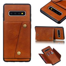 Retro Multifunction Card Slots Stand Leather Coated Phone Back Cover for Samsung Galaxy S10 Plus(6.4 inch) - Brown