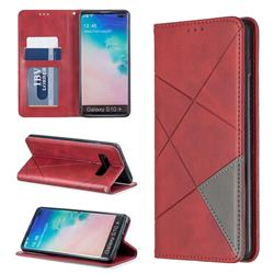 Prismatic Slim Magnetic Sucking Stitching Wallet Flip Cover for Samsung Galaxy S10 Plus(6.4 inch) - Red