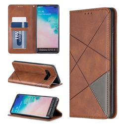 Prismatic Slim Magnetic Sucking Stitching Wallet Flip Cover for Samsung Galaxy S10 Plus(6.4 inch) - Brown