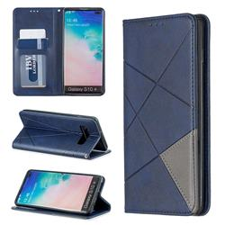 Prismatic Slim Magnetic Sucking Stitching Wallet Flip Cover for Samsung Galaxy S10 Plus(6.4 inch) - Blue