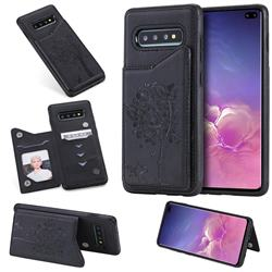 Luxury Tree and Cat Multifunction Magnetic Card Slots Stand Leather Phone Back Cover for Samsung Galaxy S10 Plus(6.4 inch) - Black