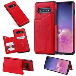Luxury Tree and Cat Multifunction Magnetic Card Slots Stand Leather Phone Back Cover for Samsung Galaxy S10 Plus(6.4 inch) - Red