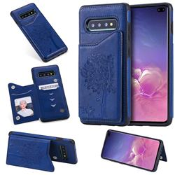 Luxury Tree and Cat Multifunction Magnetic Card Slots Stand Leather Phone Back Cover for Samsung Galaxy S10 Plus(6.4 inch) - Blue