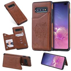 Luxury Tree and Cat Multifunction Magnetic Card Slots Stand Leather Phone Back Cover for Samsung Galaxy S10 Plus(6.4 inch) - Brown