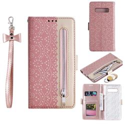 Luxury Lace Zipper Stitching Leather Phone Wallet Case for Samsung Galaxy S10 Plus(6.4 inch) - Pink