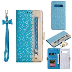 Luxury Lace Zipper Stitching Leather Phone Wallet Case for Samsung Galaxy S10 Plus(6.4 inch) - Blue
