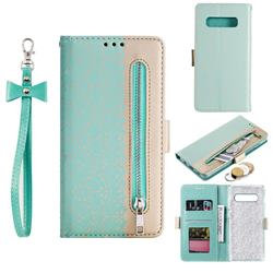 Luxury Lace Zipper Stitching Leather Phone Wallet Case for Samsung Galaxy S10 Plus(6.4 inch) - Green