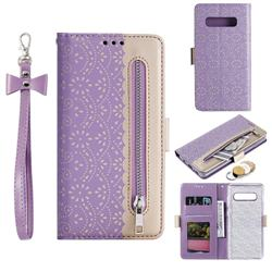 Luxury Lace Zipper Stitching Leather Phone Wallet Case for Samsung Galaxy S10 Plus(6.4 inch) - Purple