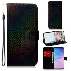 Laser Circle Shining Leather Wallet Phone Case for Samsung Galaxy S10 Plus(6.4 inch) - Black