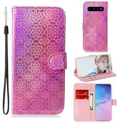 Laser Circle Shining Leather Wallet Phone Case for Samsung Galaxy S10 Plus(6.4 inch) - Pink