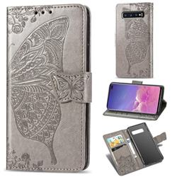 Embossing Mandala Flower Butterfly Leather Wallet Case for Samsung Galaxy S10 Plus(6.4 inch) - Gray