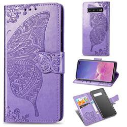 Embossing Mandala Flower Butterfly Leather Wallet Case for Samsung Galaxy S10 Plus(6.4 inch) - Light Purple
