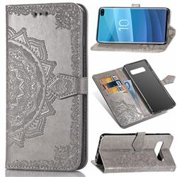 Embossing Imprint Mandala Flower Leather Wallet Case for Samsung Galaxy S10 Plus(6.4 inch) - Gray