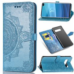 Embossing Imprint Mandala Flower Leather Wallet Case for Samsung Galaxy S10 Plus(6.4 inch) - Blue