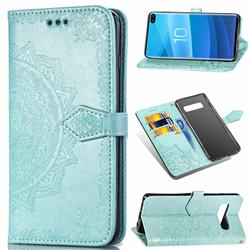 Embossing Imprint Mandala Flower Leather Wallet Case for Samsung Galaxy S10 Plus(6.4 inch) - Green