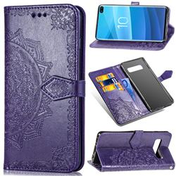 Embossing Imprint Mandala Flower Leather Wallet Case for Samsung Galaxy S10 Plus(6.4 inch) - Purple