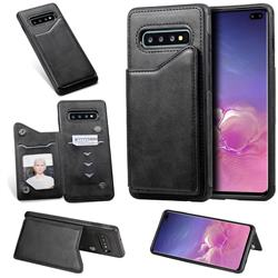 Luxury Multifunction Magnetic Card Slots Stand Calf Leather Phone Back Cover for Samsung Galaxy S10 Plus(6.4 inch) - Black