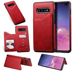 Luxury Multifunction Magnetic Card Slots Stand Calf Leather Phone Back Cover for Samsung Galaxy S10 Plus(6.4 inch) - Red