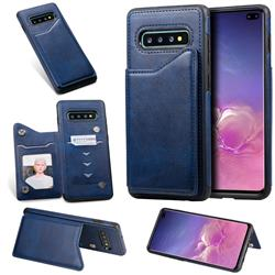 Luxury Multifunction Magnetic Card Slots Stand Calf Leather Phone Back Cover for Samsung Galaxy S10 Plus(6.4 inch) - Blue